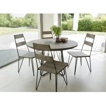 Salon de jardin en teck teinté, comprenant 1 table à manger ronde et 2 lots  de 2 chaises sandi bois et métal