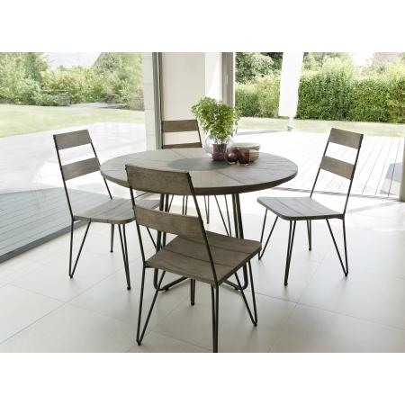 Salon de jardin en teck teinté, comprenant 1 table à manger ronde et 2 lots  de 2 chaises scandi bois et métal
