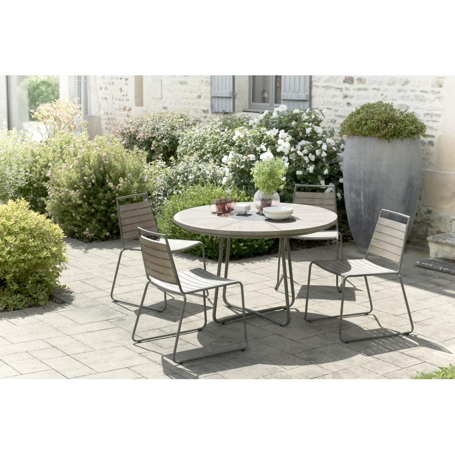 Salon de jardin bois en teck teinté, comprenant 1 table à manger ronde et 2  lots de 2 chaises empilables bois et métal