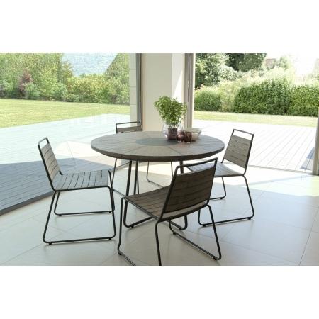 Salon de jardin en teck teinté, comprenant 1 table à manger ronde et 2 lots  de 2 chaises empilables bois et métal