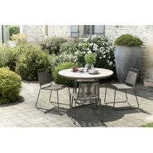 Salon de jardin en teck teinté, comprenant 1 table à manger ronde et 2 lots  de 2 chaises empilables cordage synthétique