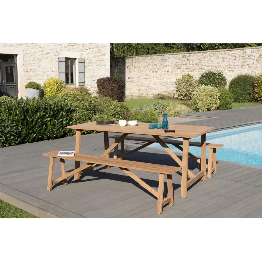 Salon de jardin bois en teck teinté, comprenant 1 table SOHO 180*90cm et 2  bancs SOHO 180*25cm couleur naturelle