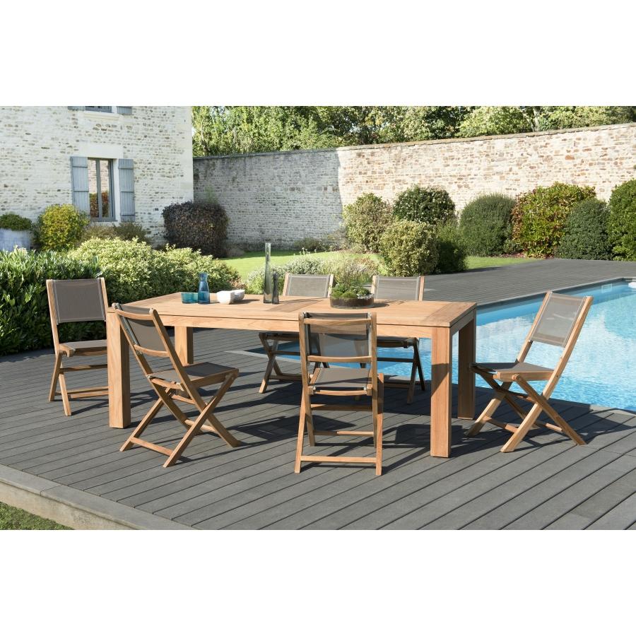 Salon de jardin bois teck teinté: 1 table à manger DENVER 220*100cm + 3  lots de 2 chaises pliantes textilène taupe