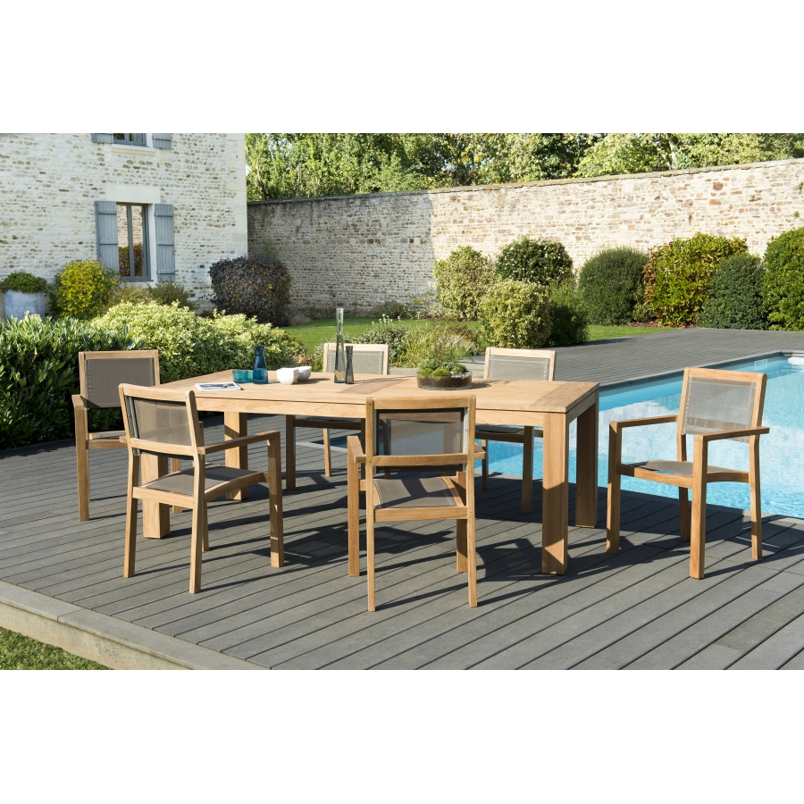 Salon de jardin teck teinté: 1 table à manger DENVER 220*100cm + 3 lots de  2 fauteuils empilables textilène taupe