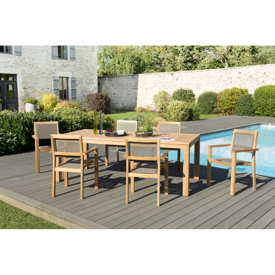 Salon de jardin bois teck teinté: 1 table à manger VIESTE 220*100cm + 3  lots de 2 fauteuils empilables textilène taupe