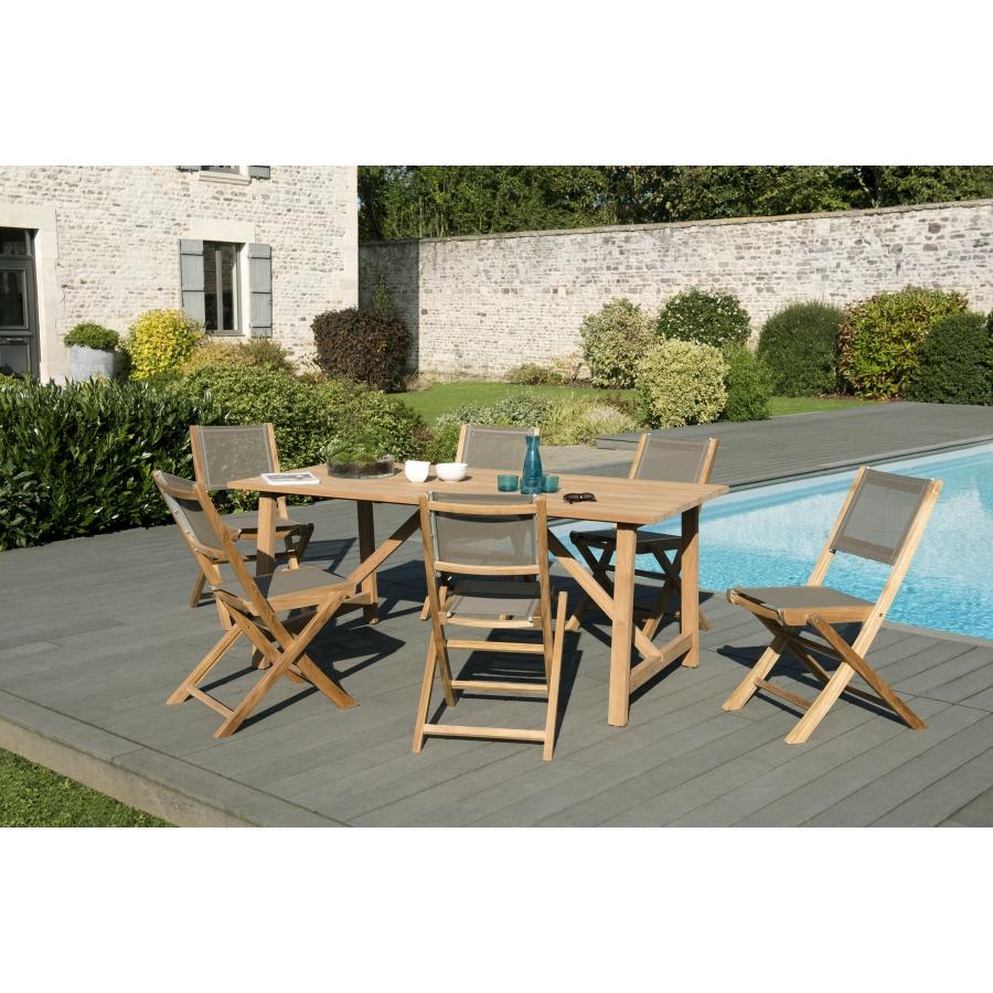 Salon de jardin bois teck teinté: 1 table SOHO 180*90cm + 3 lots de 2  chaises pliantes textilène taupe