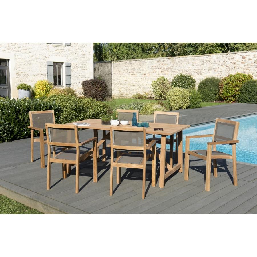 Salon de jardin bois teck teinté: 1 table SOHO 180*90cm + 3 lots de 2  fauteuils empilables textilène taupe