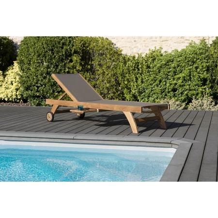 Bain de soleil textilène couleur taupe en bois...