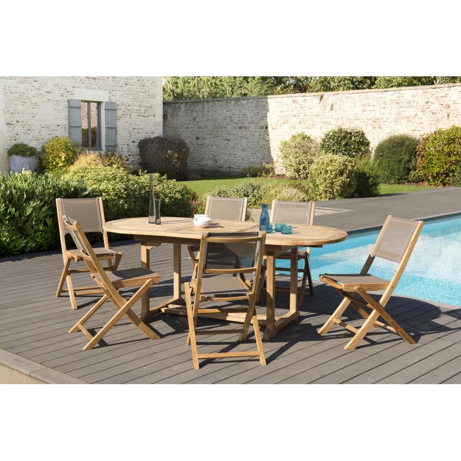 Salon de jardin bois teck grade A, comprenant 1 table ovale extensible  150/200 et 3 lots de 2 chaises pliantes textilène taupe