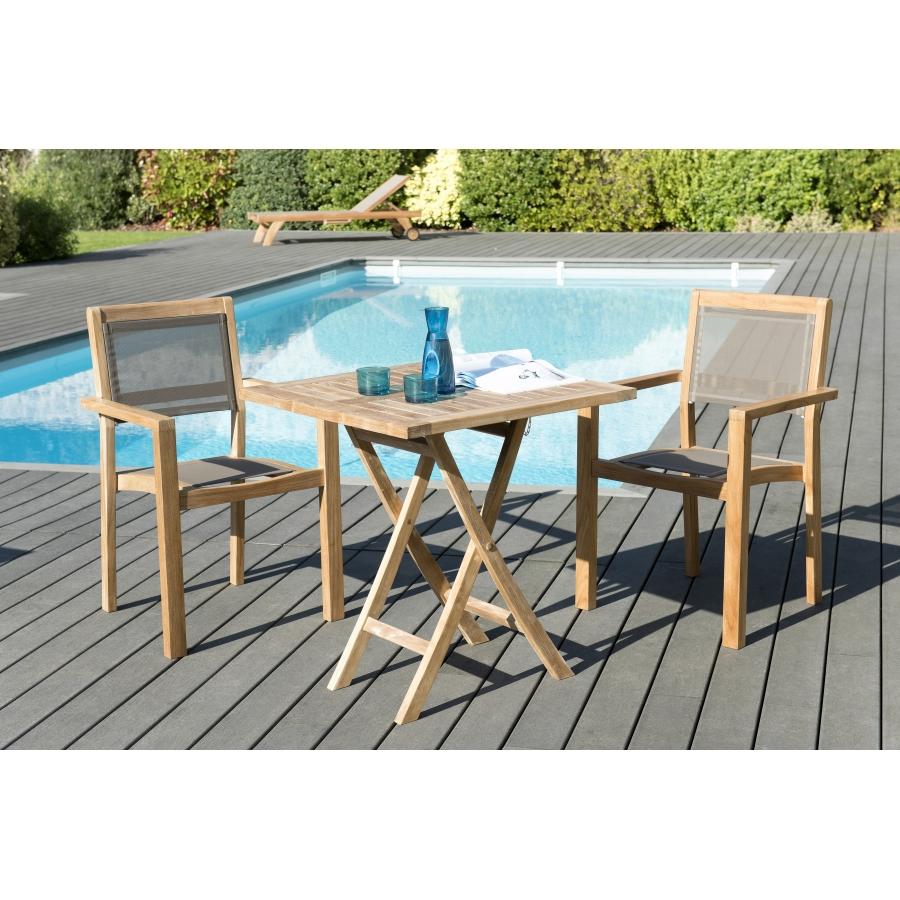Salon de jardin en teck grade A, comprenant 1 table carrée pliante 70*70cm  et 1 lot de 2 fauteuils empilables textilène taupe