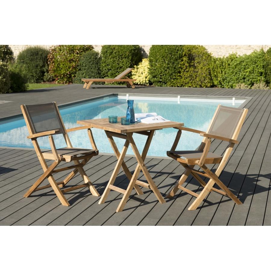 Salon de jardin en teck grade A, comprenant 1 table carrée pliante 70*70cm  et 1 lot de 2 fauteuils pliants textilène taupe