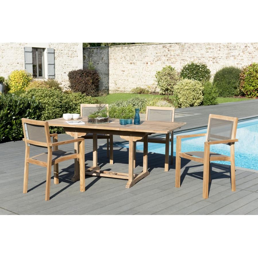 Salon de jardin teck grade A: 1 table rectangulaire ext 120/180*90cm et 2  lots de 2 fauteuils empilables textilène couleur taupe