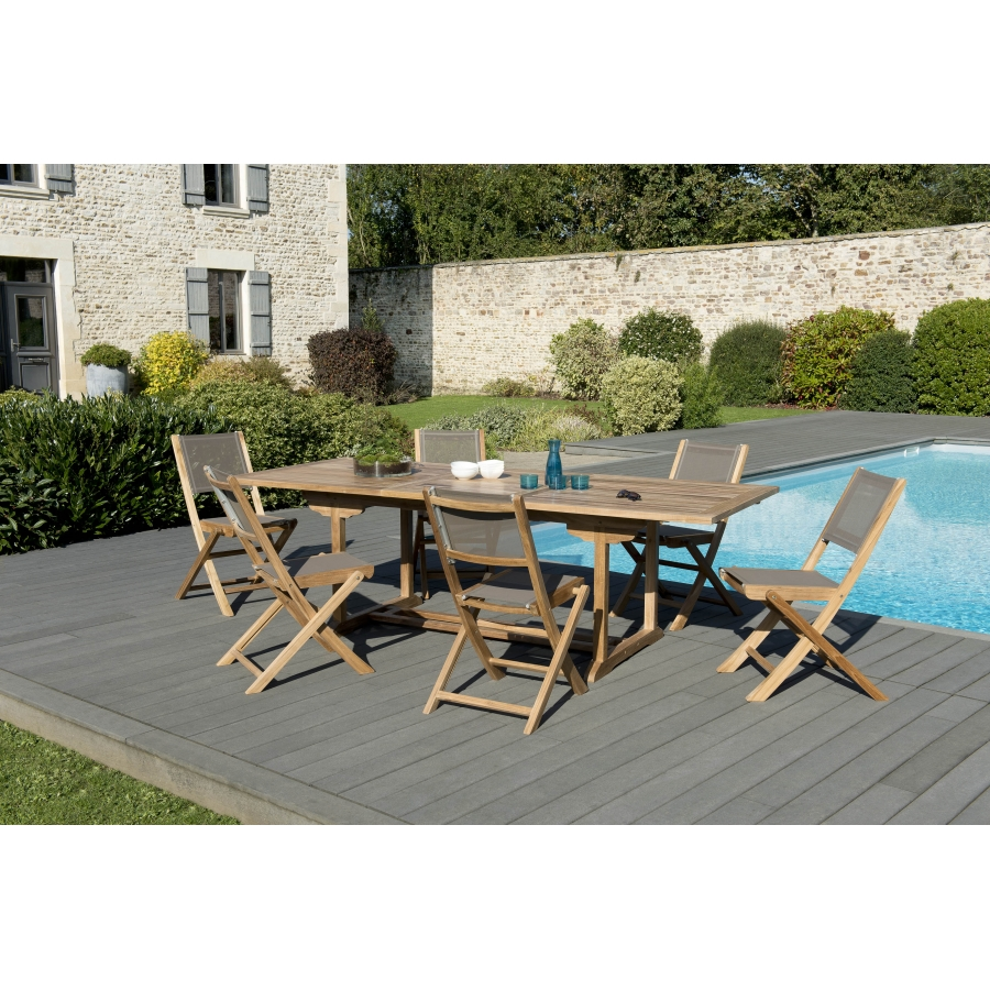 Salon de jardin teck grade A: 1 table rectangulaire ext 180/240*100cm et 3  lots de 2 chaises pliantes textilène couleur taupe