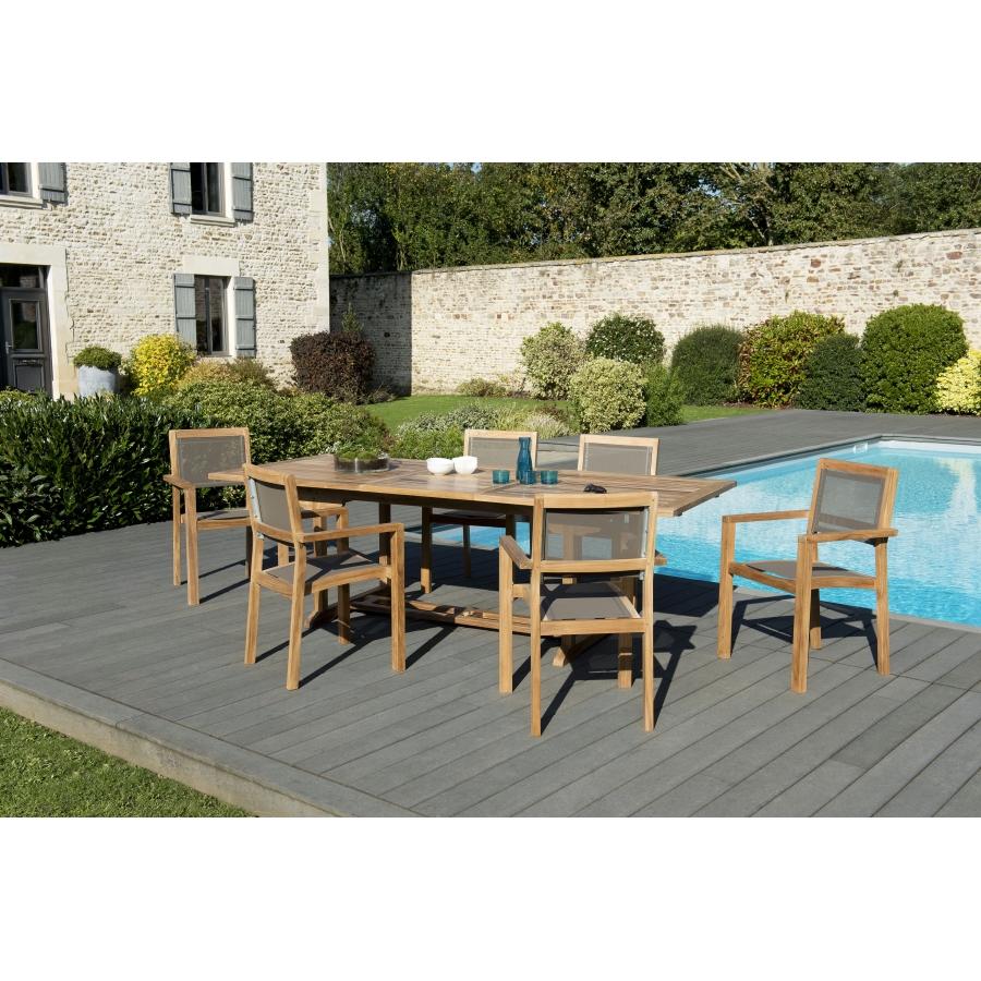 Salon de jardin teck grade A: 1 table rectangulaire ext 180/240*100cm + 3  lots de 2 fauteuils empilables textilène couleur taupe
