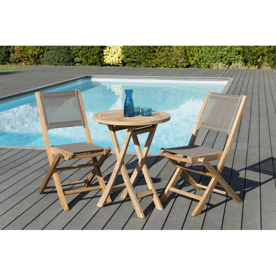 Salon de jardin en teck grade A, comprenant 1 table ronde pliante 60*60cm  et 1 lot de 2 chaises pliantes textilène couleur taupe