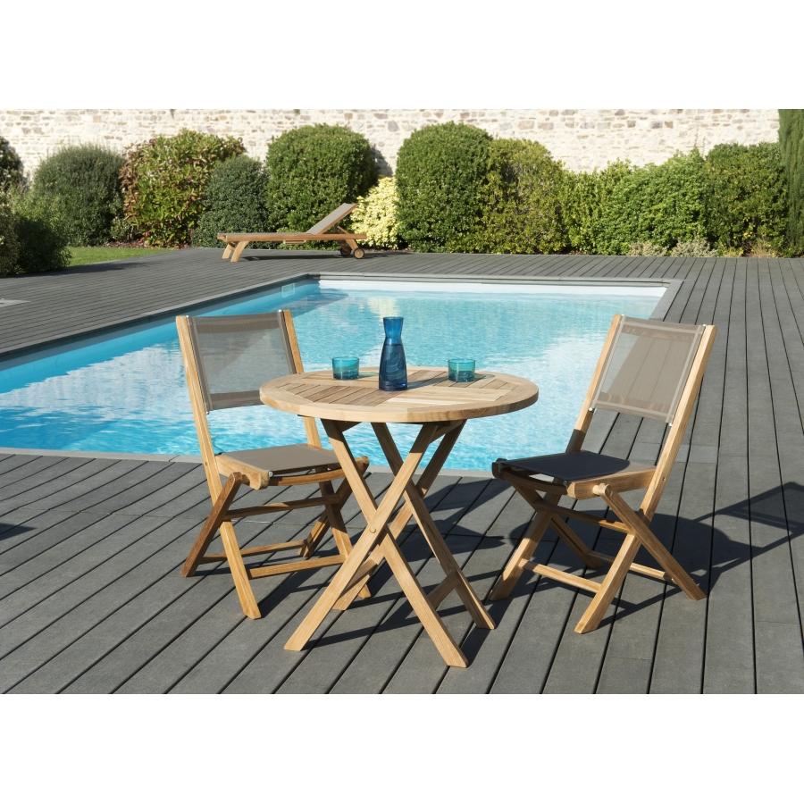 Salon de jardin en teck grade A, comprenant 1 table ronde pliante 80*80cm  et 1 lot de 2 chaises pliantes textilène couleur taupe