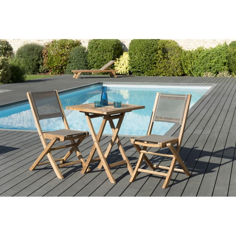 Salon de jardin teck grade A: 1 table carrée pliante 60*60cm et 1 lot de 2  chaises pliantes textilène couleur taupe