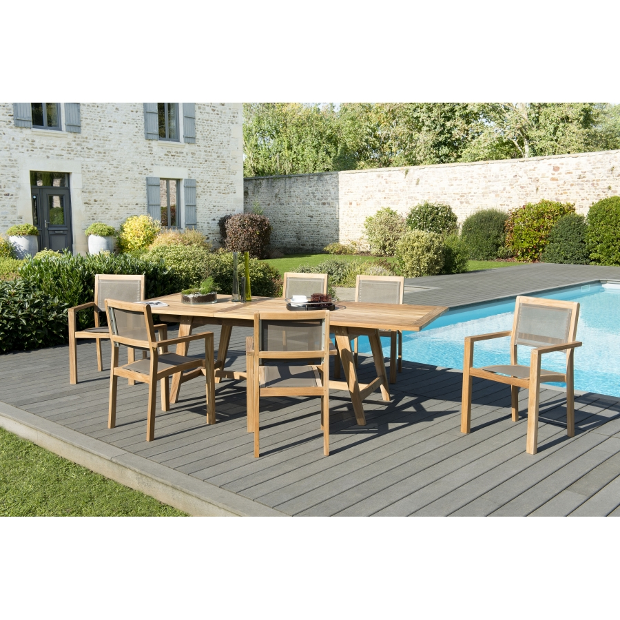 Salon de jardin teck grade A: 1 table rectangulaire scandi ext  180/240*100cm + 3 lots de 2 fauteuils empilables textilène/taupe
