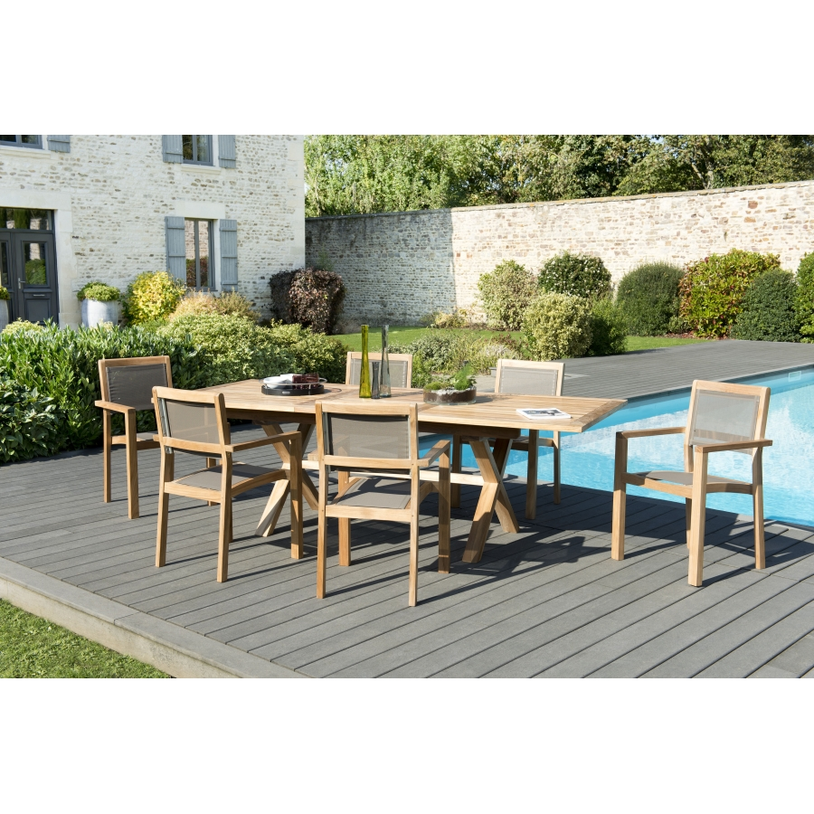 Salon de jardin bois teck grade A: 1 table rect. pieds croisés ext 180/240  + 3 lots de 2 fauteuils empilables textilène taupe