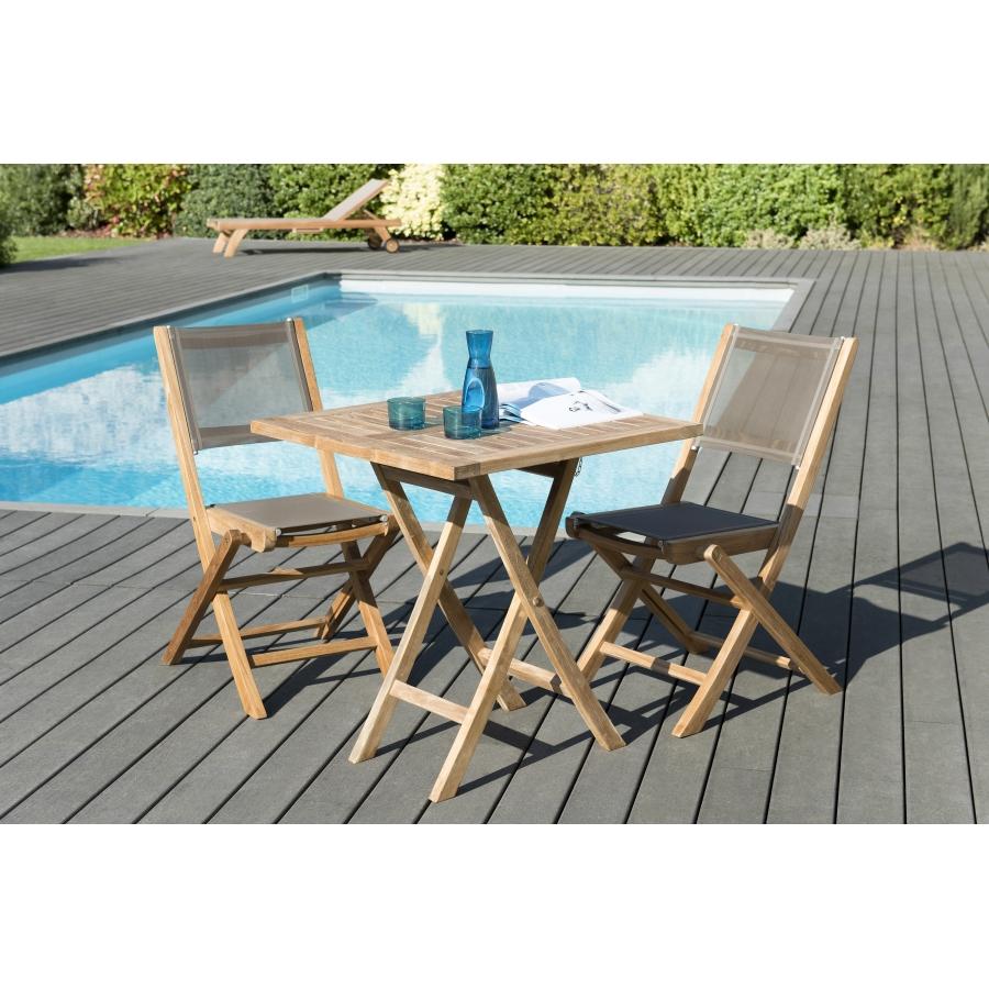 Salon de jardin teck grade A: 1 table carrée pliante 70*70cm et 1 lot de 2  chaises pliantes textilène couleur taupe