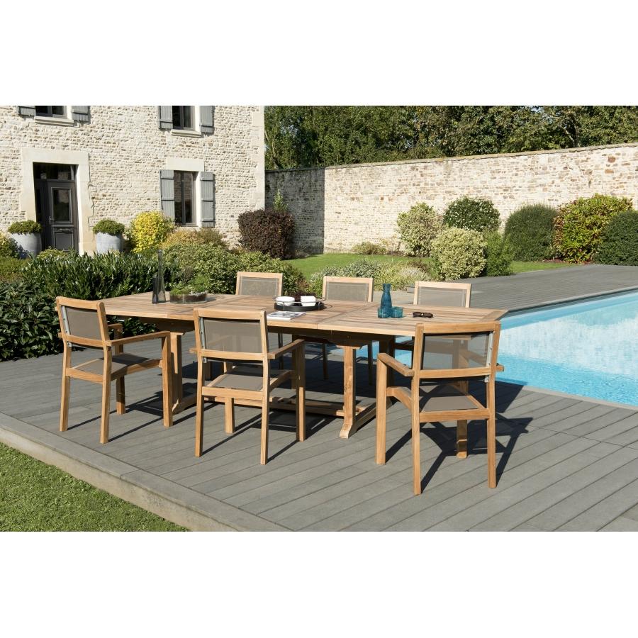 Salon de jardin teck grade A: 1 table rect extensible 200/300*120cm+3 lots  de 2 fauteuils empilables textilène couleur taupe