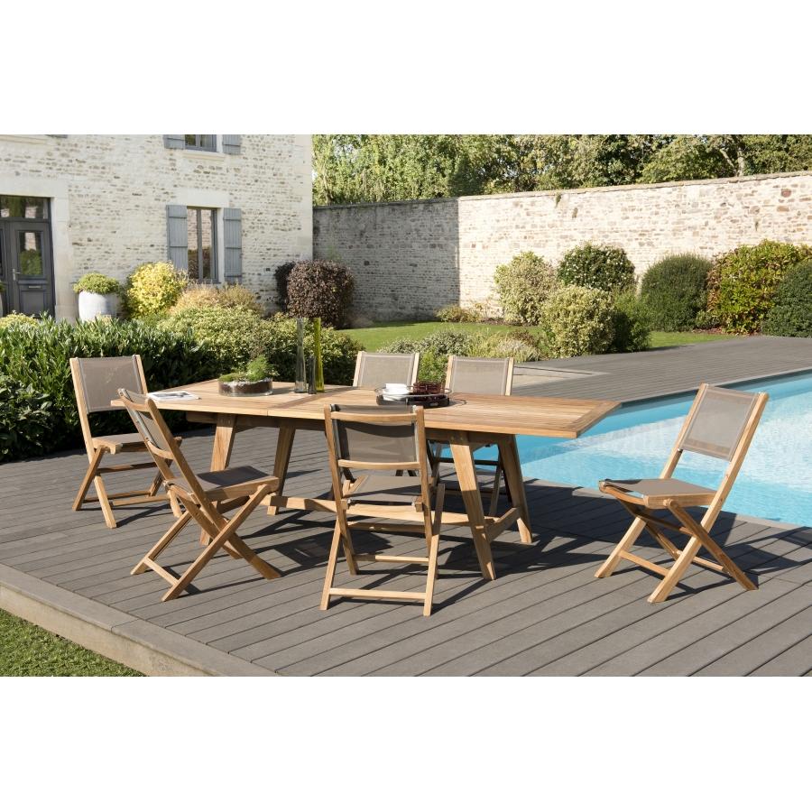 Salon de jardin teck grade A: 1 table rect scandi extensible  180/240*100cm+3 lots de 2 chaises pliantes textilène couleur taupe