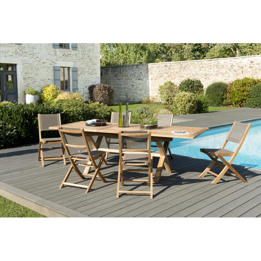 Salon de jardin bois teck grade A: 1 table rect pieds croisés ext  180/240*100cm+3 lots de 2 chaises pliantes textilène taupe