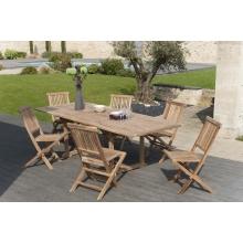 Salon de jardin n°6 en teck comprenant 1 table rectangulaire / 6 ...