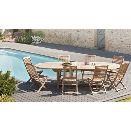Salon de jardin n°16 comprenant 1 table ovale 8...