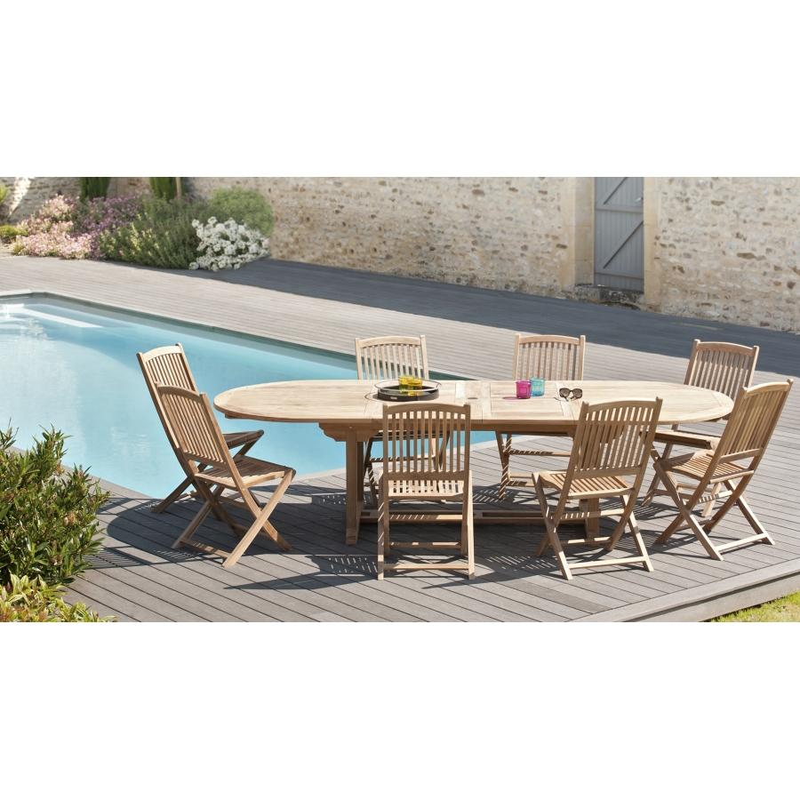 Salon de jardin en teck grade A, comprenant 1 table ovale extensible  200*300/120 cm et 4 lots de 2 chaises lombock