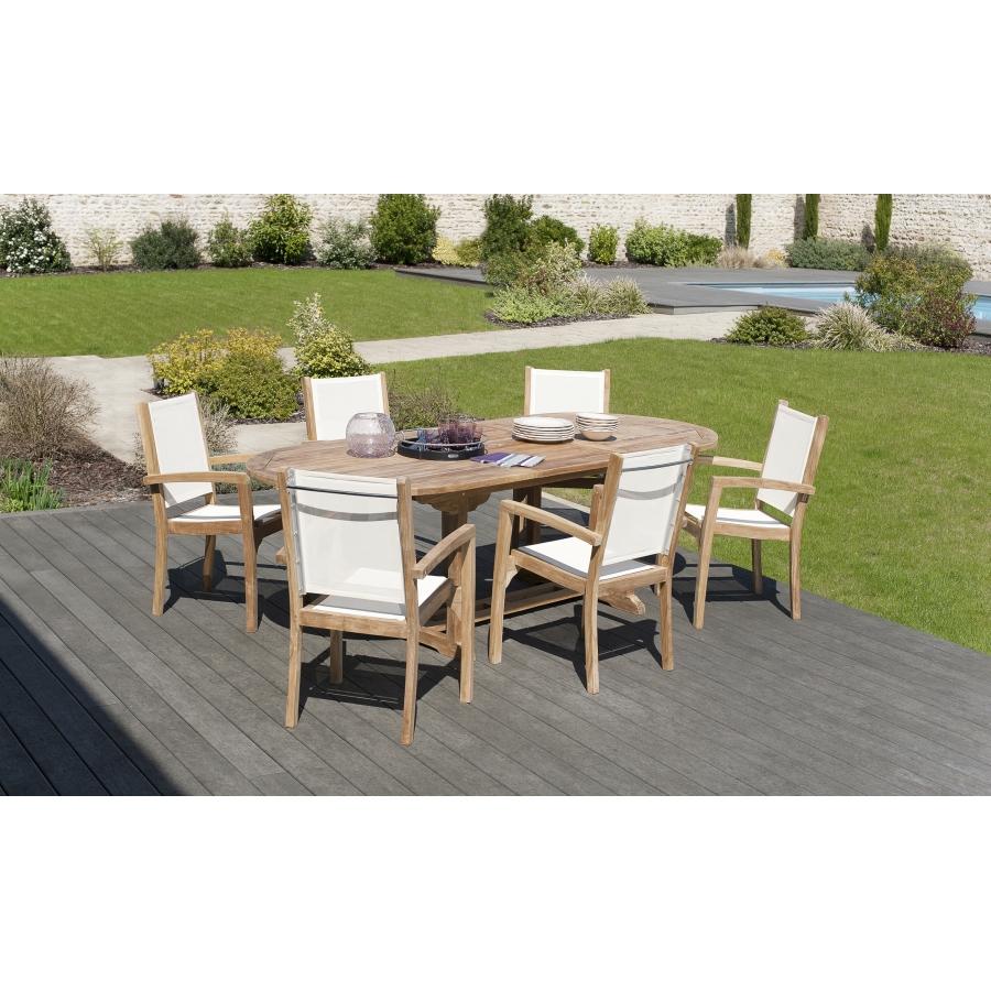 Salon de jardin en teck grade A: 1 table ovale ext 180*240/100 cm et 3 lots  de 2 fauteuils dossier et assise couleur ivoire