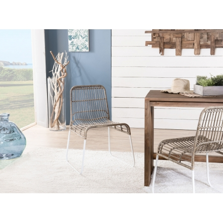 Lot de 2 chaises rotin/kubu et métal blanc BALLA