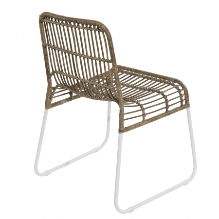 Lot de 2 chaises rotinkubu et métal blanc BALLA