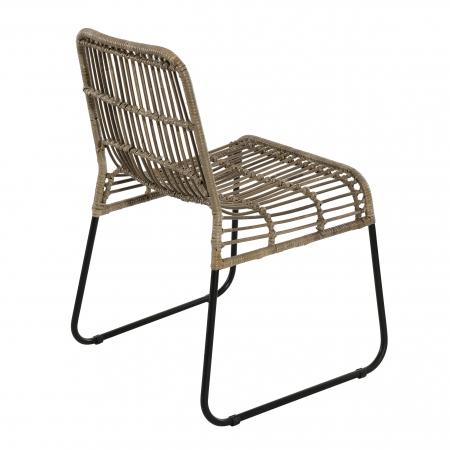 Lot de 2 chaises rotinkubu et métal noir BALLA