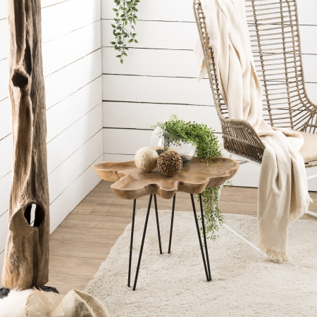 Table d'appoint Teck - plateau forme naturelle...