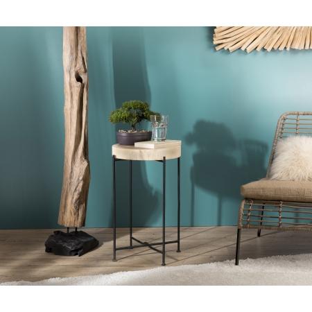 Table d'appoint bois nature Mungur pieds métal