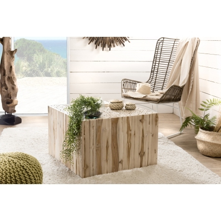 Table basse bois carrée nature branches Teck