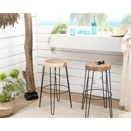 Lot de 2 tabourets de bar bois rond nature...