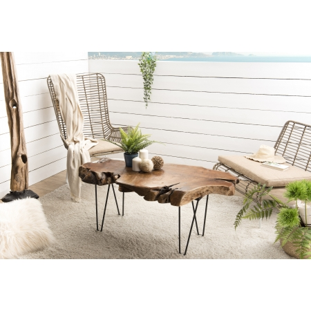 Table basse forme naturelle Teck - pieds...