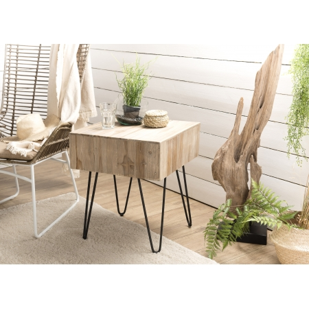 Table d'appoint carrée - plateau branches Teck...
