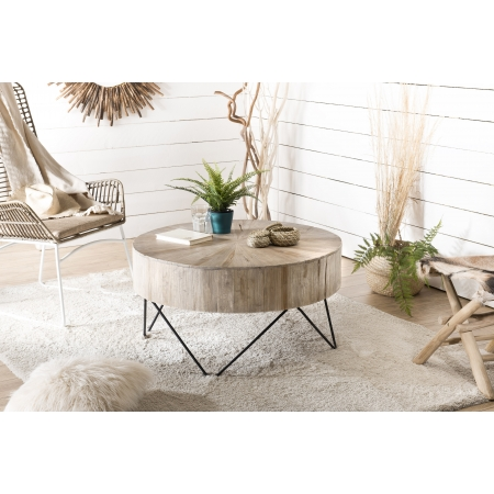 Table basse bois nature ronde - plateau...