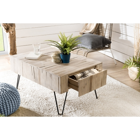 Table basse bois  nature 2 tiroirs branches...