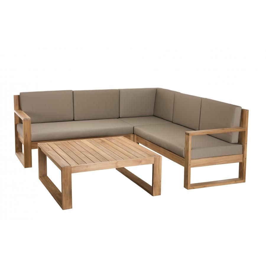 Salon de jardin bois ACAPULCO - Ensemble de 3 fauteuils et 1 table basse