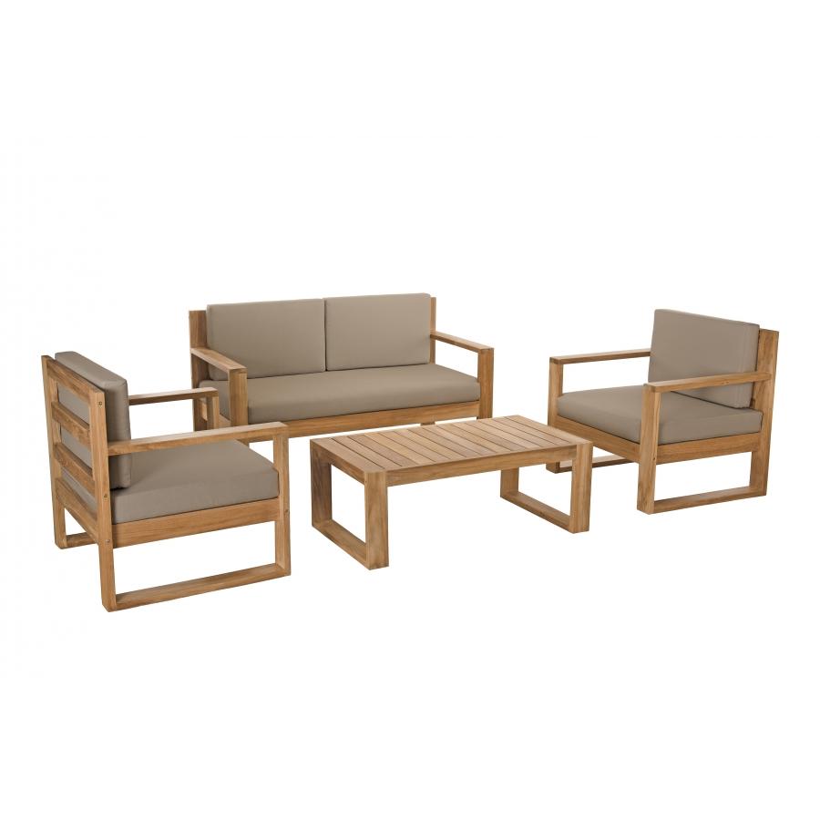 Salon de jardin bois MEXICO - Ensemble de 3 fauteuils et 1 table basse