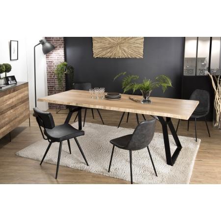 Table à manger bois 230x100cm Chêne pieds métal