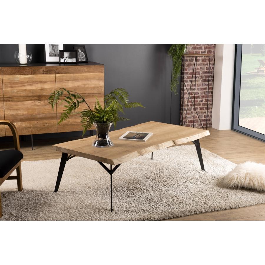 Table Basse Bois Rectangulaire 130x70cm Chene Pieds Metal