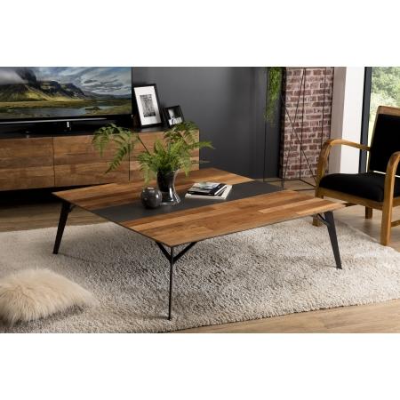 Table basse carrée 120x120cm Teck recyclé métal...