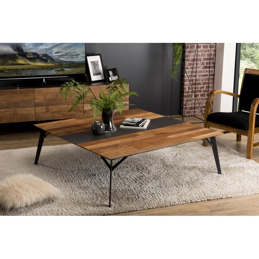 Table Basse Bois Carree 120x120cm Teck Recycle Metal Et Pieds Metal