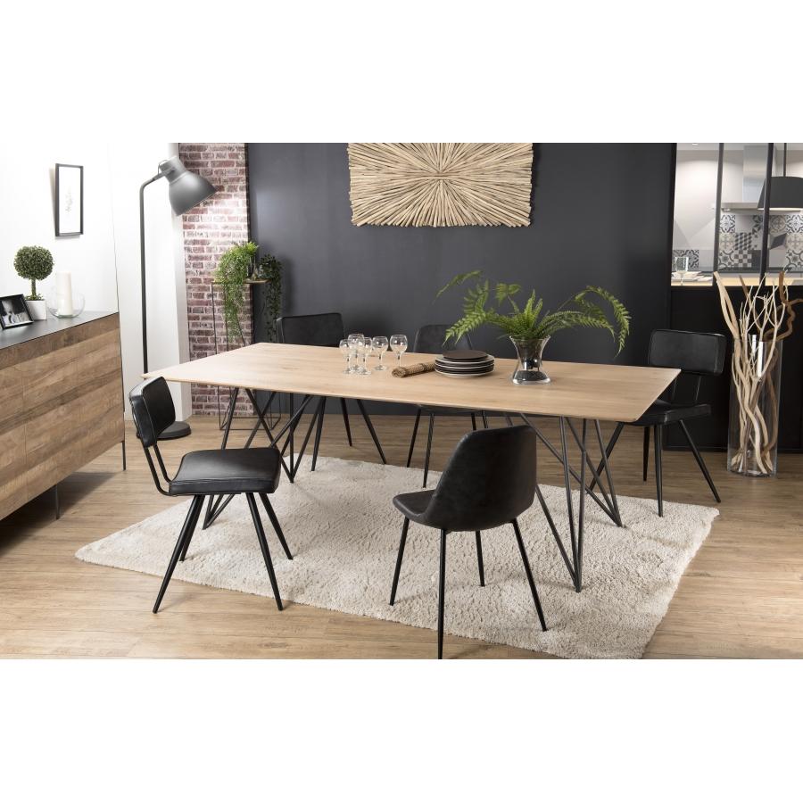 Table à Manger Bois 220x100 Chêne Pieds Croisés Métal