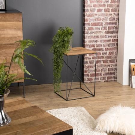 Table d'appoint bois PM Teck recyclé et métal
